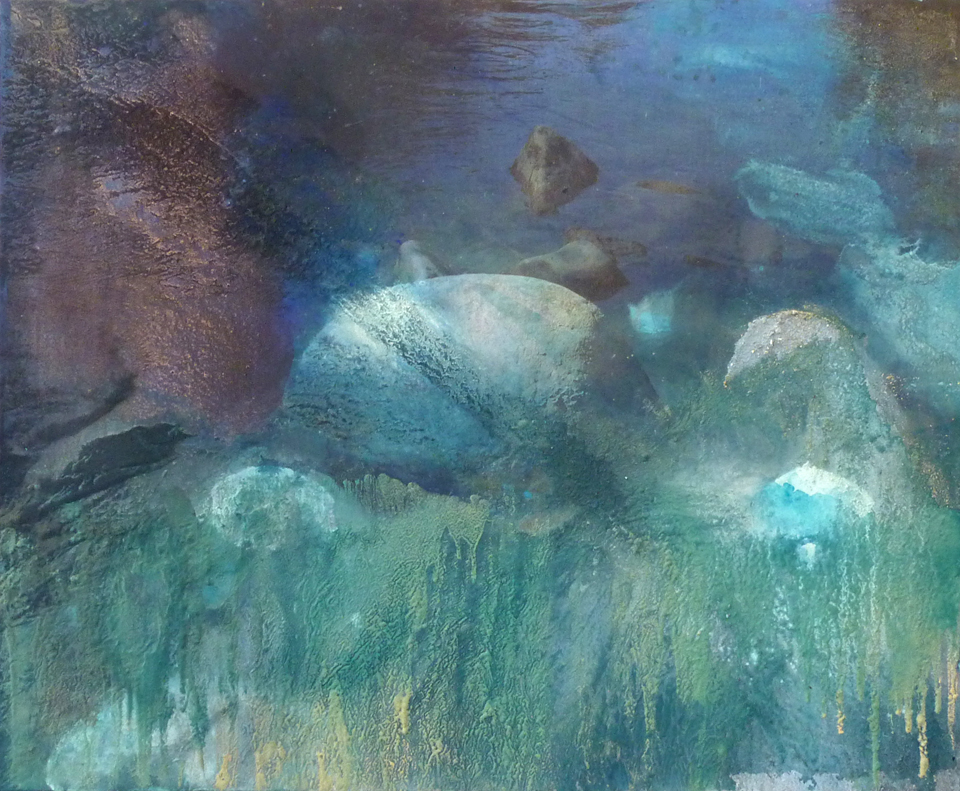 stone in water viii 114.3 cm x 139.7 giclee print, pigment, sand and acrylic on canvas 2010
