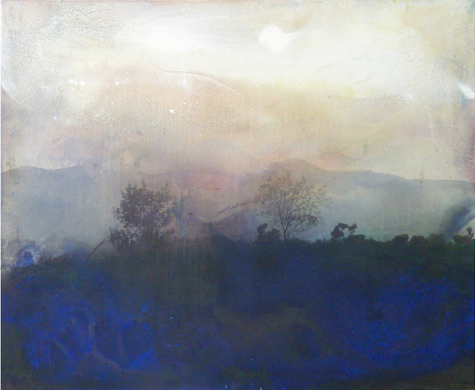 trees ii 114.3 cm x 139.7 giclee print, pigment, sand and acrylic on canvas 2010