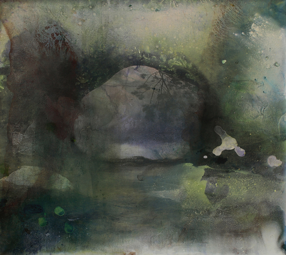 stone in river ii  114.3cm x 127cm giclee print, pigment and acrylic on canvas