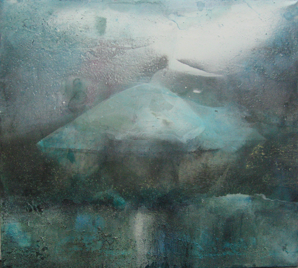 stone in water vi 114.3cm x 127cm giclee print, pigment and acrylic on canvas