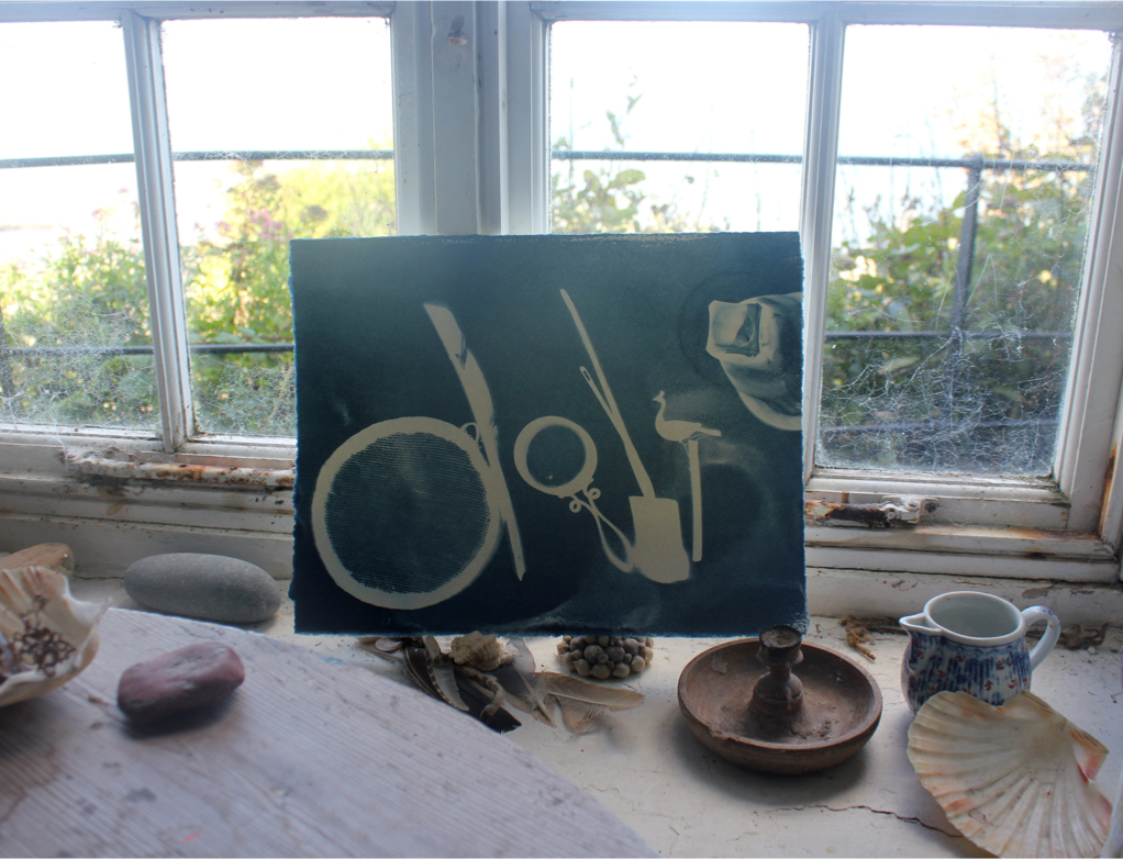 cyanotype of cabin objects